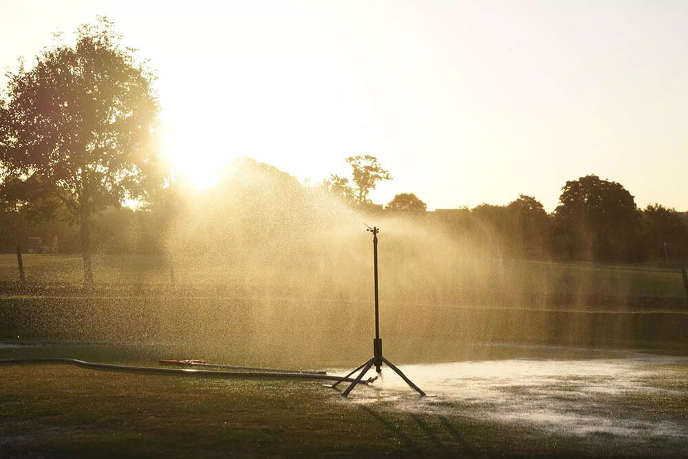 Irrigation sprinkler on a large lawn
