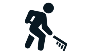 Animated worker raking icon