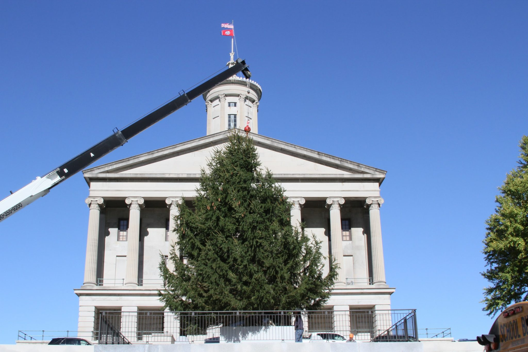 Christmas tree outside of the capital building