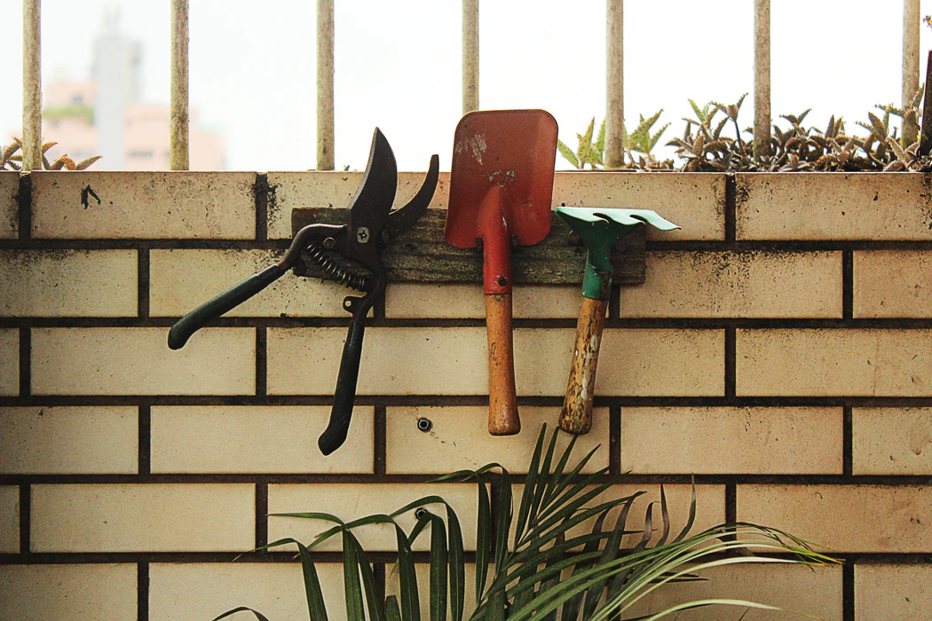 Gardening tools on a rack