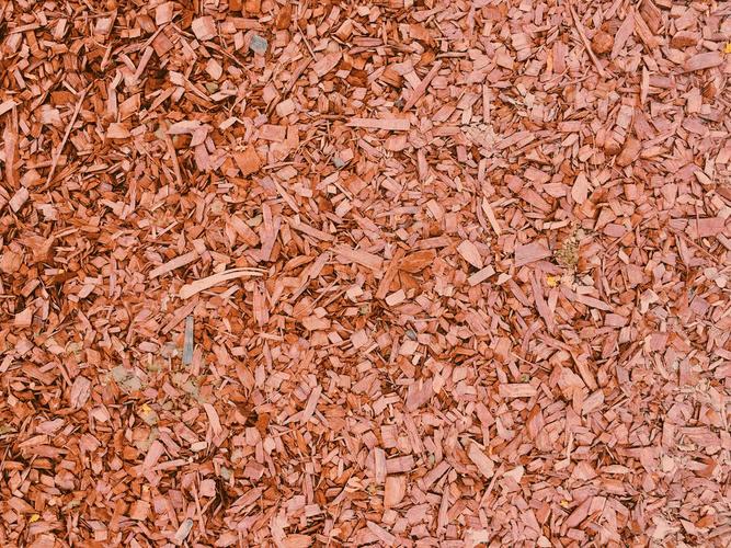 Bed of brown shredded mulch