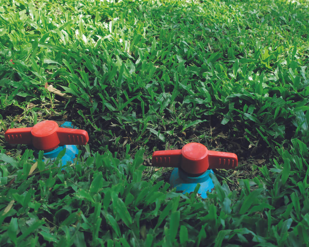Backflow testing sprinklers in a yard